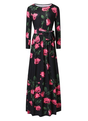 Polyester Floral Long Sleeve Maxi Dresses