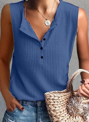 Solid V-Neckline Sleeveless Casual T-shirts (4864528)
