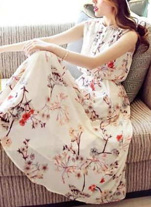 Floral Ruffles Sleeveless Maxi Dress
