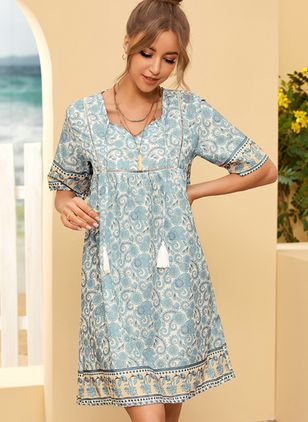 Casual Floral Tunic V-Neckline A-line Dress (107423110)