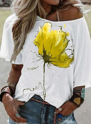 Floral Round Neck Half Sleeve Casual T-shirts (120649081)