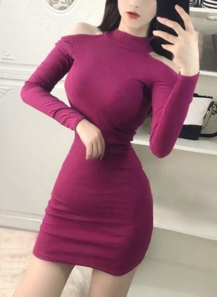 Solid Hollow Out Pencil High Neckline Bodycon Dress