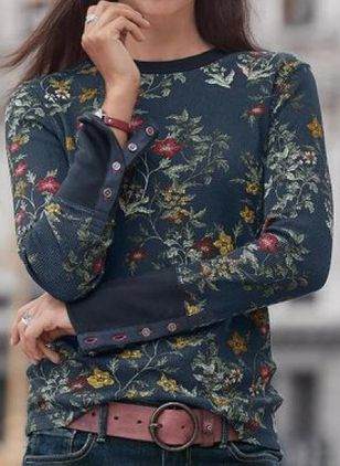 Floral Casual Round Neckline Long Sleeve Blouses (107422813)
