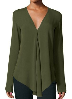 Solid Casual V-Neckline Long Sleeve Blouses