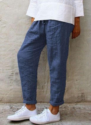 Casual Straight Mid Waist Polyester Pants (107563004)