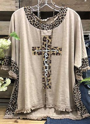 Leopard Round Neck Half Sleeve Casual T-shirts (147066753)