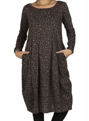 Casual Geometric Tunic Round Neckline A-line Dress (120648990)