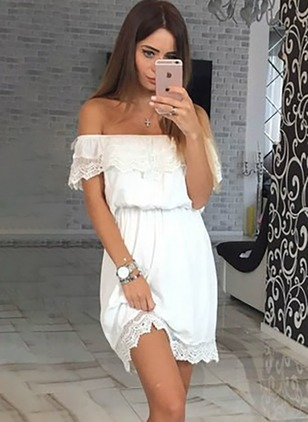 Solid Lace Short Sleeve Shift Dress