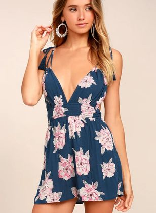 Floral Sleeveless Backless Jumpsuits & Rompers