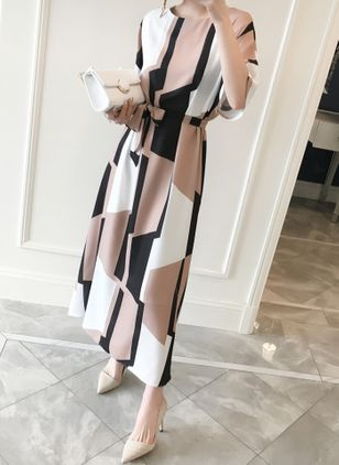 Casual Color Block Round Neckline Maxi X-line Dress (1424112)