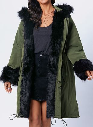Long Sleeve Hooded Removable Fur Collar Parkas Coats (1410305)