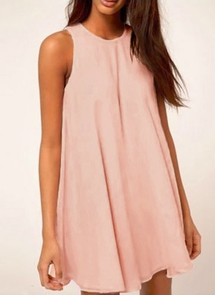 Cotton Solid Tshirt Sleeveless A-line Dress
