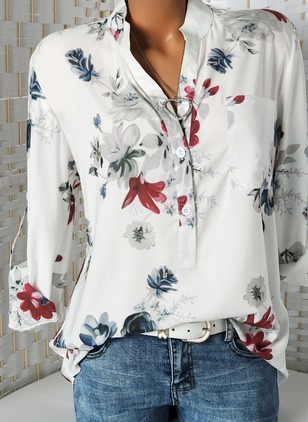Floral Casual Round Neckline Long Sleeve Blouses (1509484)