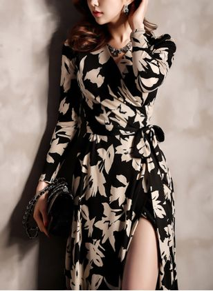 Floral Wrap Long Sleeve Maxi A-line Dress