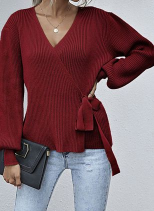 V-Neckline Solid Casual Loose Regular Sashes Sweaters (109556226)