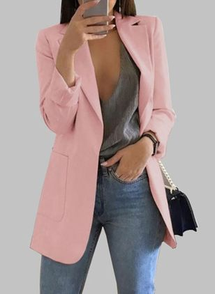 Long Sleeve Lapel Pockets Blazers Coats (1364489)