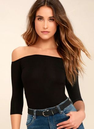 Solid Sexy Off the Shoulder Half Sleeve Blouses
