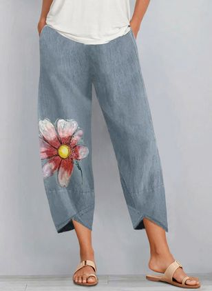 Casual Loose Pattern Pockets Mid Waist Polyester Pants (146910517)