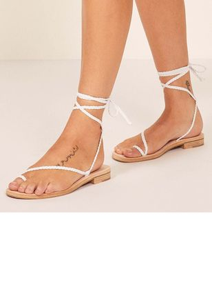 Lace-up Toe Ring Flat Heel Shoes