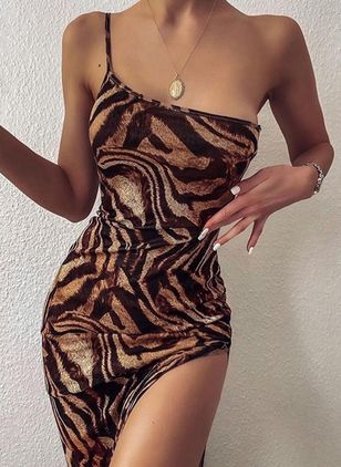 Sexy Leopard Pencil Camisole Neckline Sheath Dress (108089094)