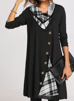 Casual Plaid Tunic V-Neckline Shift Dress (146681833)