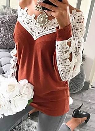 Polyester Others Color Block Oversized Lace Sweaters
