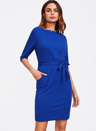 Polyester Solid 3/4 Sleeves Above Knee Dresses