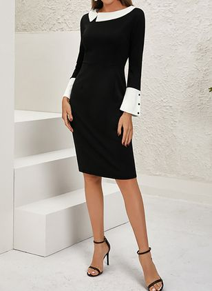 Elegant Color Block V-Neckline Above Knee Sheath Dress (122029226)