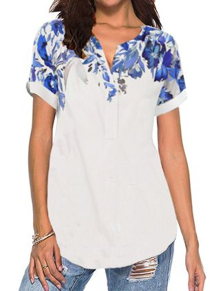 Floral V-Neckline Short Sleeve Casual T-shirts (4663257)
