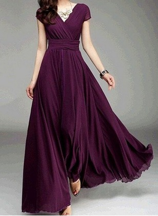 Solid V-Neckline Cap Sleeve Maxi A-line Dress