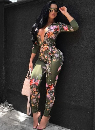 Polyester Floral 3/4 Sleeves Beach Jumpsuits & Rompers