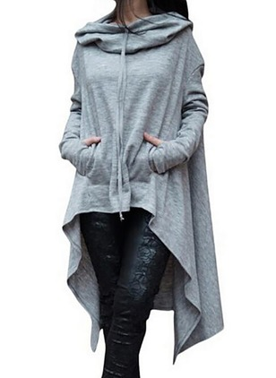 Solid Pockets Sweatershirt Long Sleeve High Low Dress