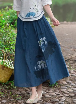 Cotton Floral Maxi Casual Skirts