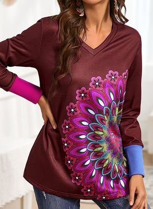 Color Block Casual Round Neckline Long Sleeve Blouses (146794909)