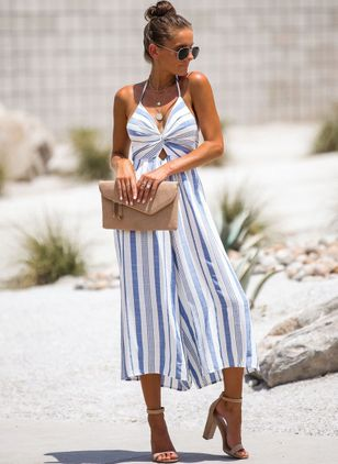 Stripe Sleeveless Backless Jumpsuits & Rompers