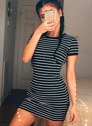 Cotton Stripe Short Sleeve Above Knee Sheath Dress