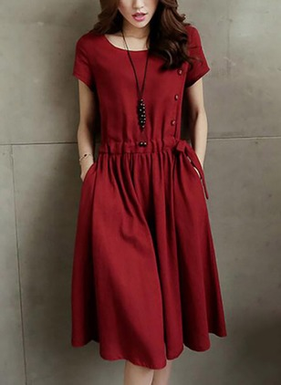Solid Buttons Wrap Knee-Length Shift Dress