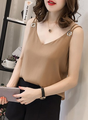 Solid Casual Chiffon Camisole Neckline Sleeveless Blouses