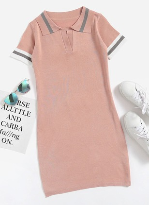 Stripe Collar Short Sleeve Shift Dress