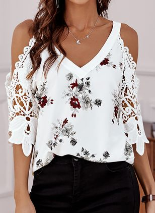 Floral Casual V-Neckline 3/4 Sleeves Blouses (146979421)