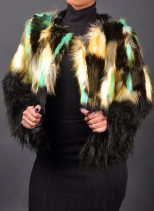 Long Sleeve Round Neck Fur Coats (109973758)