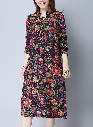 Cotton Linen Floral Half Sleeve Knee-Length Dresses