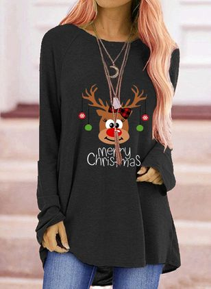 Animal Round Neck Long Sleeve Christmas T-shirts (128228484)