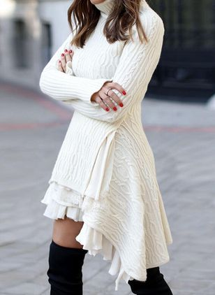Casual Solid Sweater High Neckline X-line Dress (146775283)