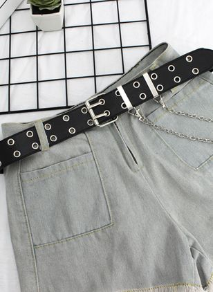 Casual Metal Solid Belts (1524828)