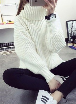 Wool High Neckline Solid Loose None Sweaters