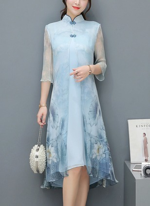 Chinese Style Floral Tunic Collar A-line Dress (1488752)