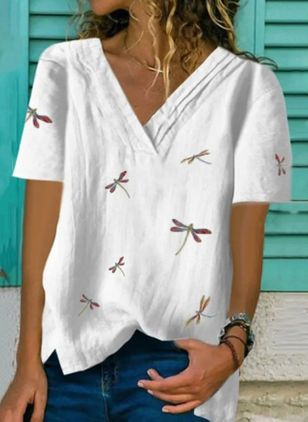 Animal Casual V-Neckline Short Sleeve Blouses (4048723)