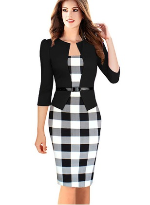 Plaid Slip Long Sleeve Knee-Length Sheath Dress