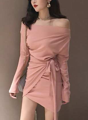 Solid Wrap Long Sleeve Mini Bodycon Dress